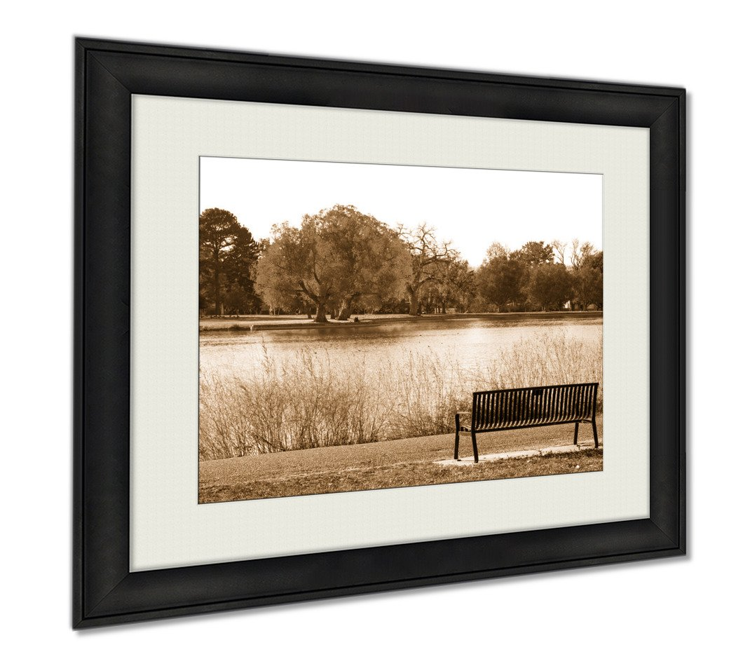Ashley Framed Prints Green Tree In Black And White Landscape Scene With An Empty Park, Wall Art Home Decoration, Sepia, 26x30 (frame size), AG6384220