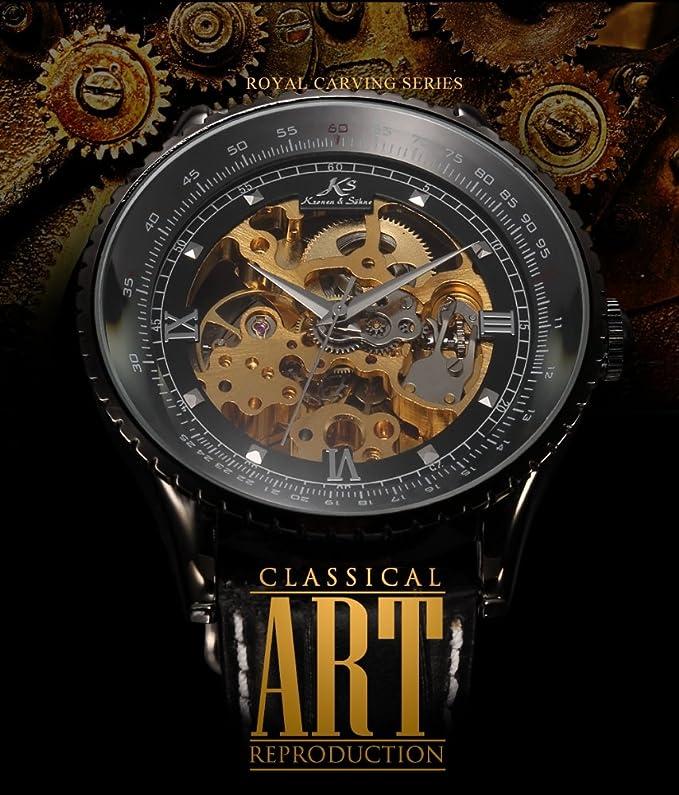 2bf864f2127 KS Reloj para Hombre Mecánico Esqueleto Automático con Correa de Cuero  Nergo KS114  Amazon.es  Relojes