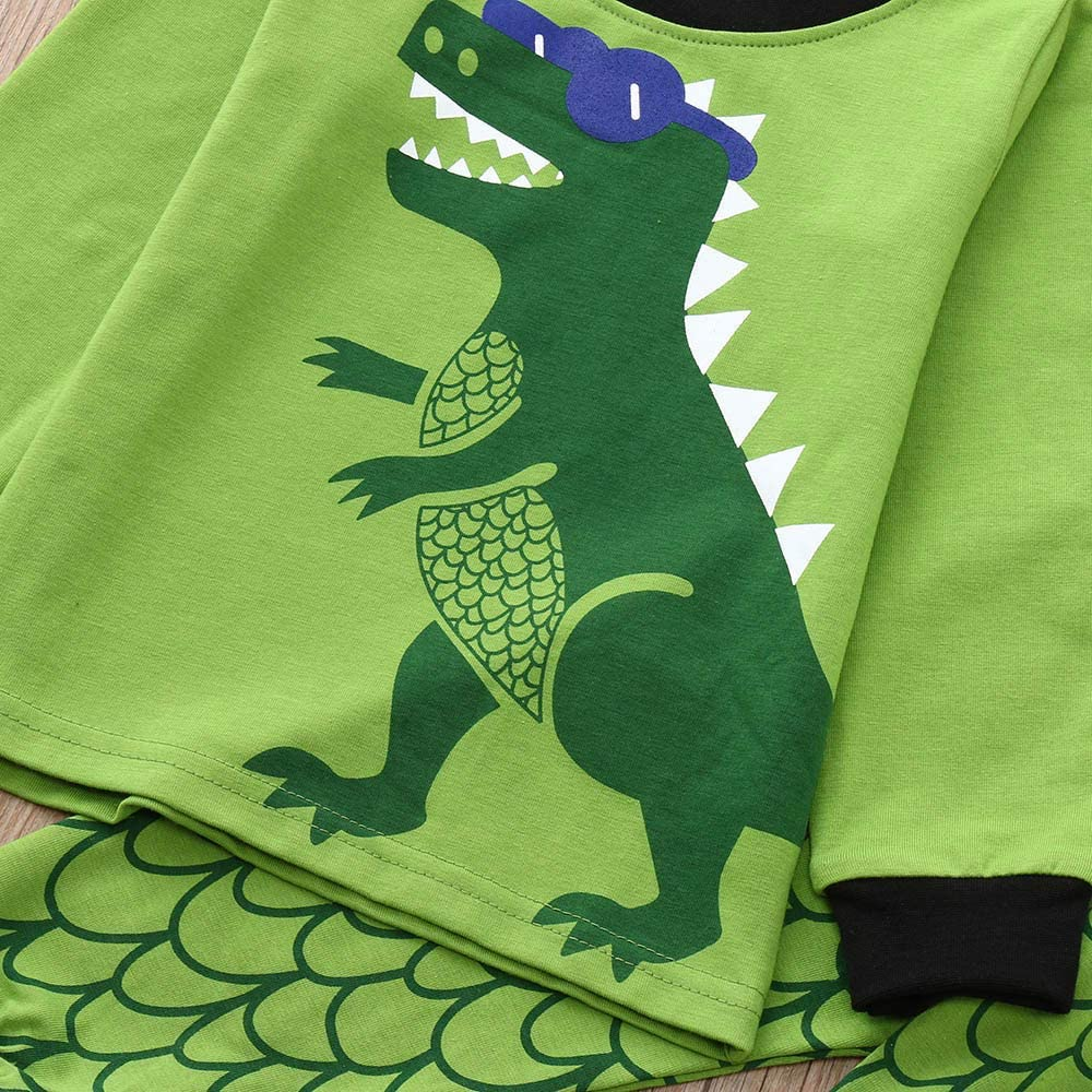 erthome 1-7 Years Baby Clothes Outfits 2Pcs Toddler Kids Boys Girls Pajamas Cartoon Dinosaur Print Tops Pants Outfits Set