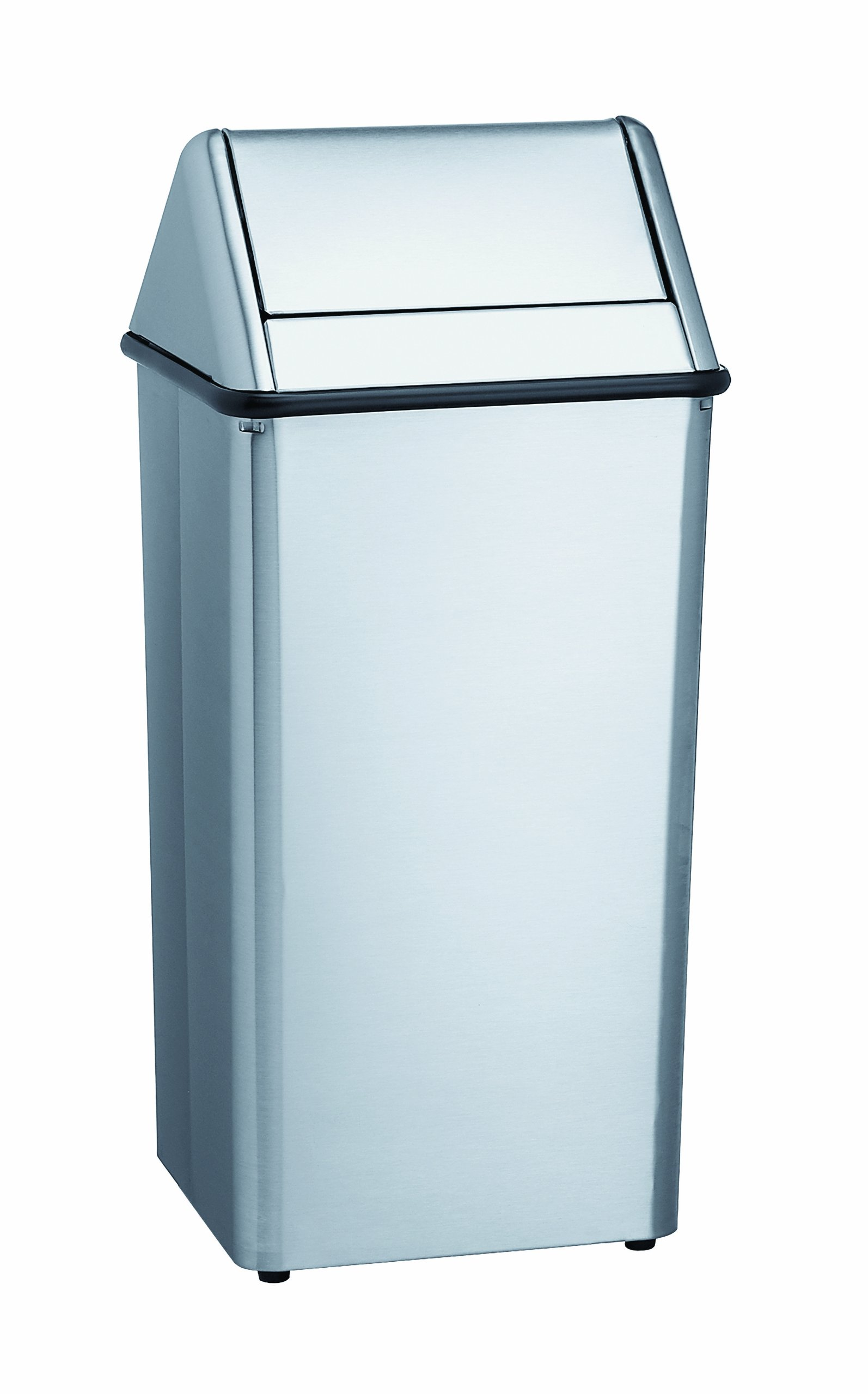 Bradley 377-000000 Stainless Steel Free-Standing Waste Receptacle, 13 Gallon Capacity, 13'' Width x 29'' Height x 13'' Depth