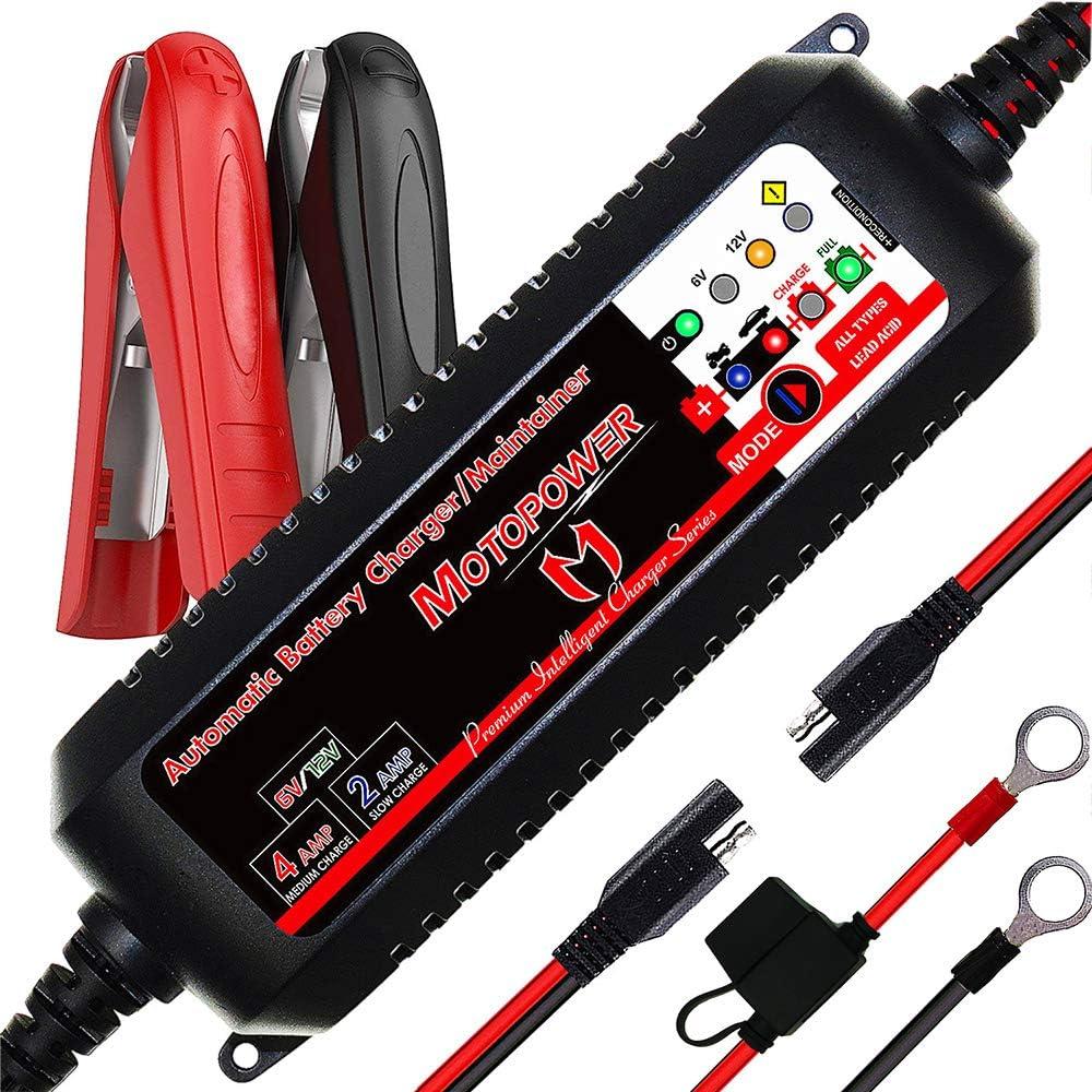 MOTOPOWER MP00207 6V / 12V 4AMP Mantenedor de Cargador de batería Inteligente Completamente automático con Modo de recuperación de batería