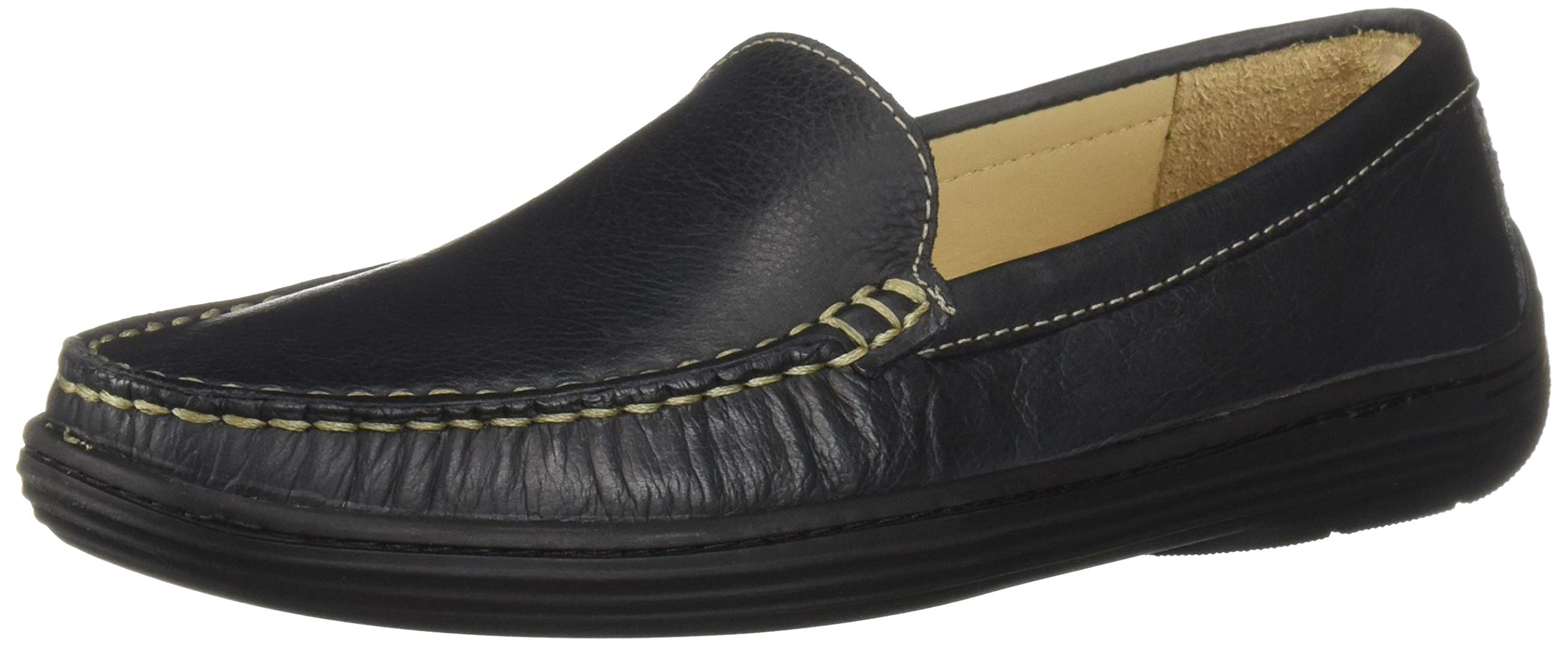 Driver Club USA Unisex Leather Boys/Girls Casual Comfort Slip On Moccasin Venetian Loafer Driving Style, Navy Grainy, 3.5 M US Little Kid