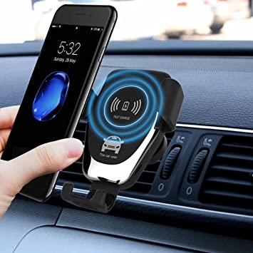 Sysmarts Qi Wireless Car Charger, Windshield/Air Vent 2-in-1 Mount Stand, 10W Quick Charger for Samsung Galaxy S9/S9+/S8/S8+/S7/Note 8/LG V30, 7.5W ...