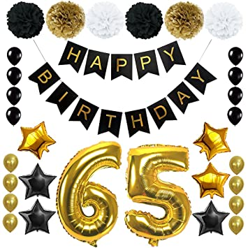 Amazon Happy 65TH Birthday Banner Ballons Set For 65 Years Old