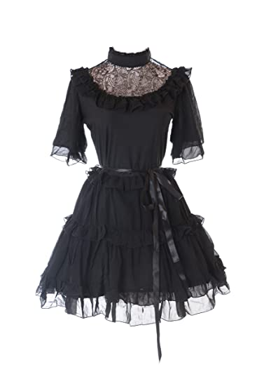 Kawaii-Story JL-623-1 Schwarz Chiffon Spitze Vampir Dark Gothic Kurzarm  Lolita ac32b29b65