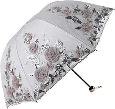Lace Transparent Long-Handled Umbrellas Sliding Non-Automatic Parasols Sunscreen
