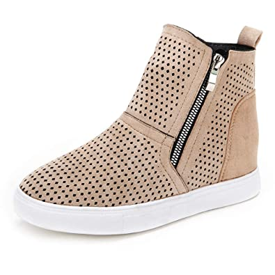 dcf8b02eb76dd Youngdemo Women's Wedge Shoes High Top Sports Shoes Casual Zipper Sneakers