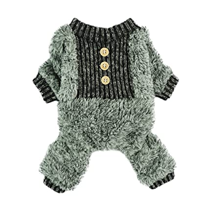 Fitwarm Fuzzy Velvet Thermal Pet Clothes for Dog Pajamas PJS Coat Jumpsuit  Medium cc82bfa12