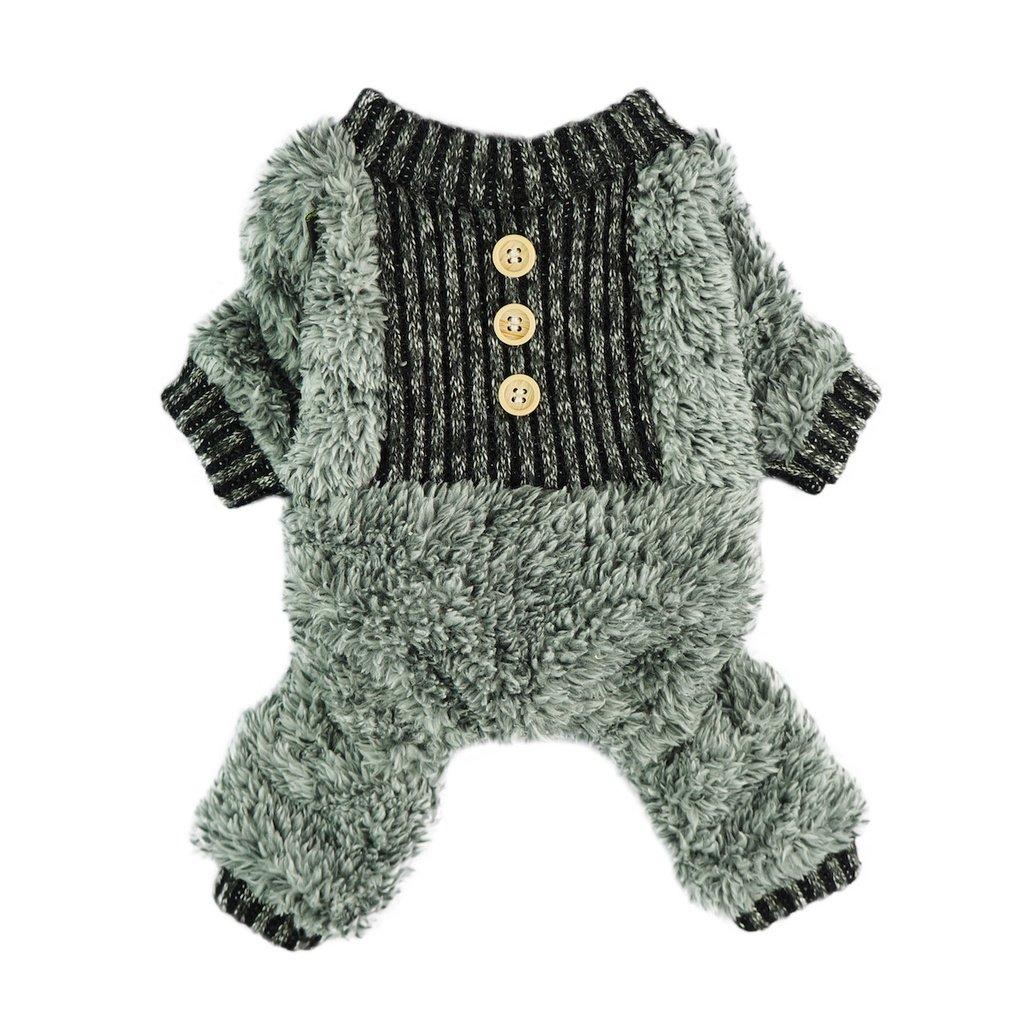 Fitwarm Fuzzy Velvet Thermal Pet Clothes for Dog Pajamas PJS Coat Jumpsuit XS