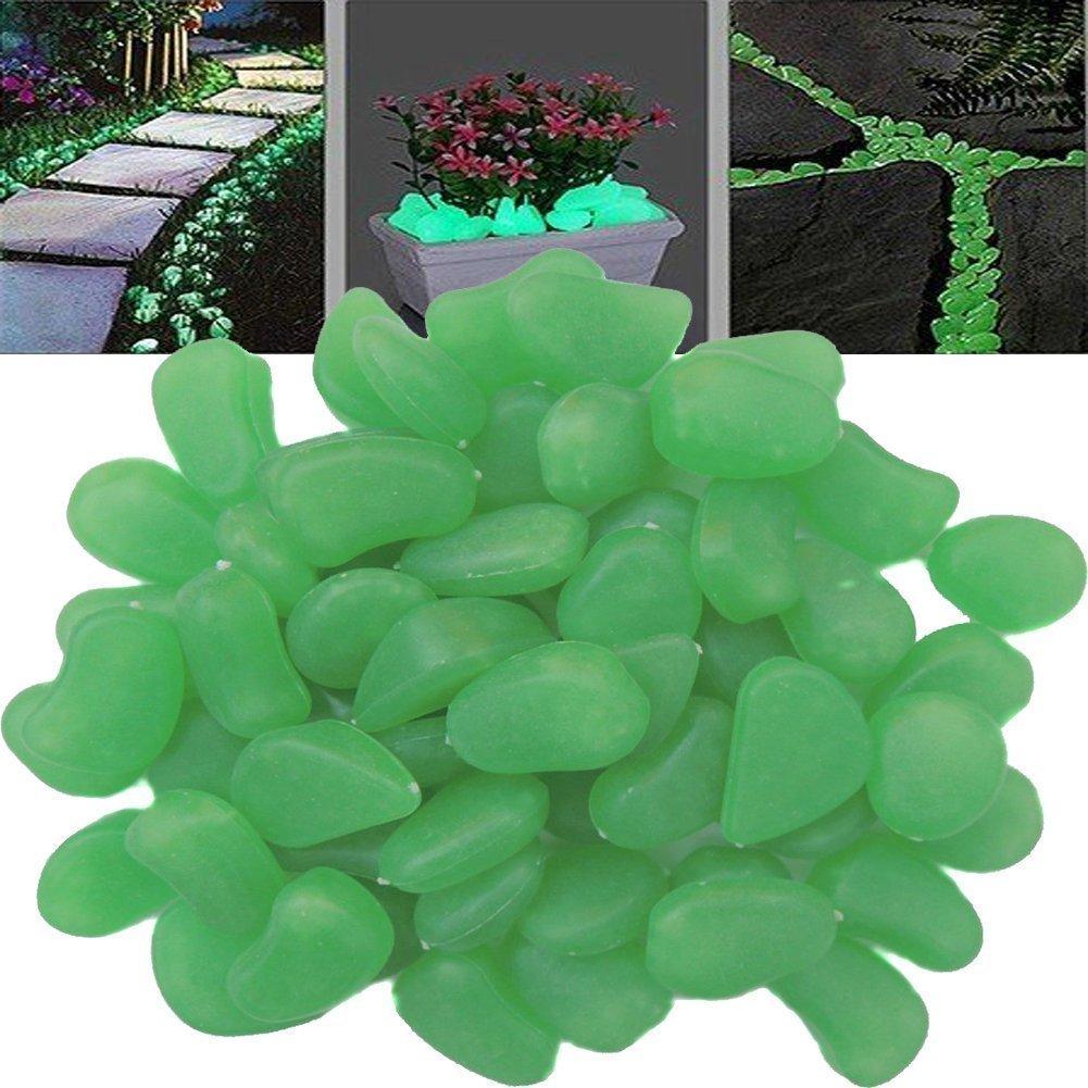 TININNA 100 Piedras Decorativas Luminosas Que Brillan en la Oscuridad,Guijarro Piedras Fluorescentes Luminoso Colores para Acuario pecera Jardin-Verde