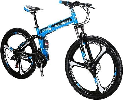 Eurobike Mountain Bike G4 Bicycle 26 Inches Wheels 21 Speed Dual Suspension Spoke Wheel Folding Bicycle Green