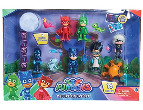 Amazon Com Just Play Pj Masks Deluxe Figure Set Toys Games