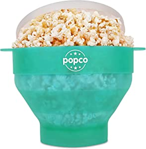 The Original Popco Silicone Microwave Popcorn Popper with Handles, Silicone Popcorn Maker, Collapsible Bowl Bpa Free and Dishwasher Safe - 15 Colors Available (Transparent Aqua)