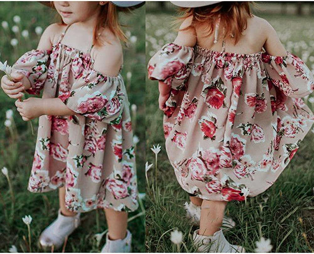 Fashion Baby Girl Kids Floral Mini Halter Dress with Ruffle Off The Should Sundress Outfits