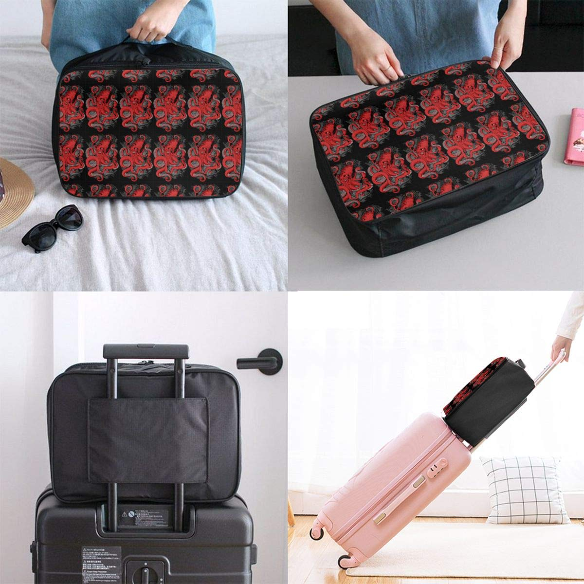 Portable Duffle Bag for Travel Gym Sports Lightweight Luggage Duffel Tote Bag for Men Women Red Panda