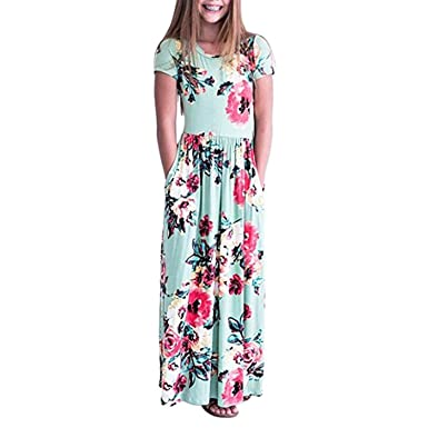 d8fe395d4 JYC Clearance Girls Flower Sleeve Pleated Casual Swing Long Maxi ...