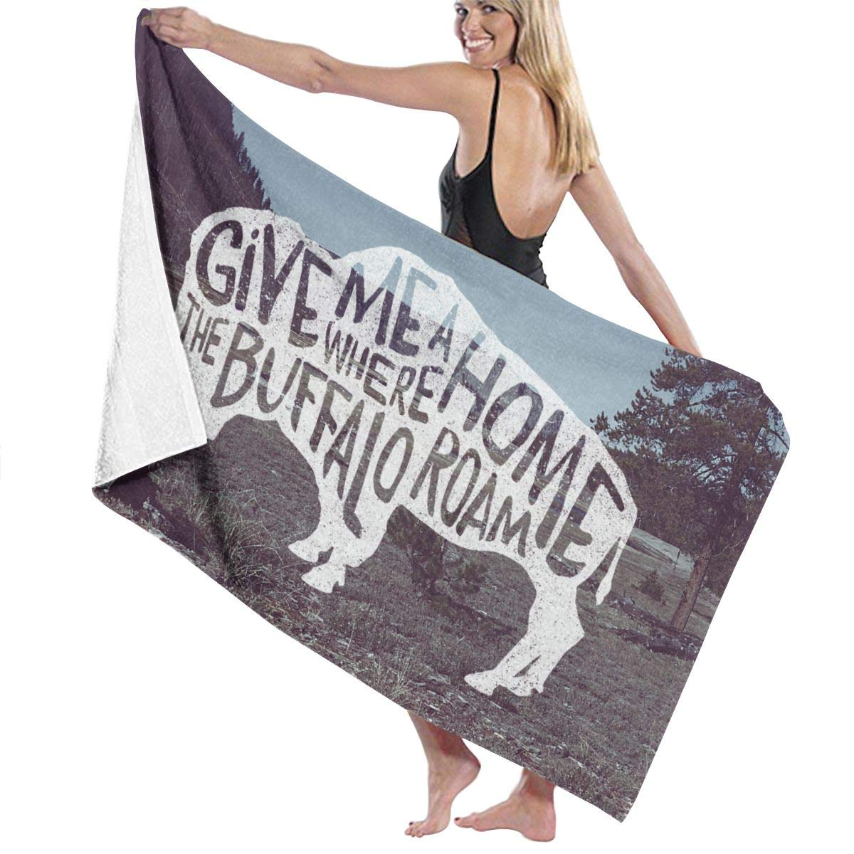 Unisex Give Me A Home Where The Buffalo Roam Premium Bath Towels, Ultra Soft Extra Large Highly Absorbent Quick Dry Bath Sheet for Beach Surfing Swimming Sports Travel Yoga Spa Hotel