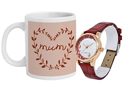 Buy Tied Ribbons Happy Birthday Gift For Mom Printed Coffee Mug With Women S Wrist Watch Online At Low Prices In India Amazon In
