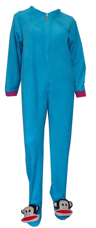 Amazon.com: Paul Frank Womens Julius Blue Fleece One Piece Footie Pajama: Clothing