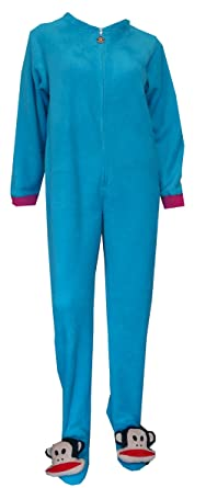 Paul Frank Julius Blue Fleece One Piece Footie Pajama for women (Large)
