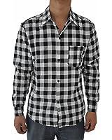 TOOGOO(R) Mens Vintage Plaid Long Sleeve Shirt Slim Fit Shirts for Men High Quality Shirt 2XL black and white plaid