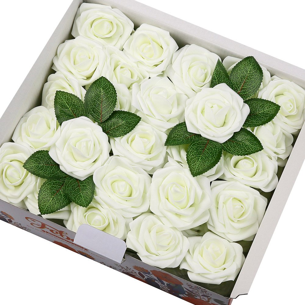 Febou Artificial Flowers, 50pcs Real Touch Artificial Foam Roses Decoration DIY for Wedding Bridesmaid Bridal Bouquets Centerpieces, Party Decoration, Home Display, Office Decor (Ivory)