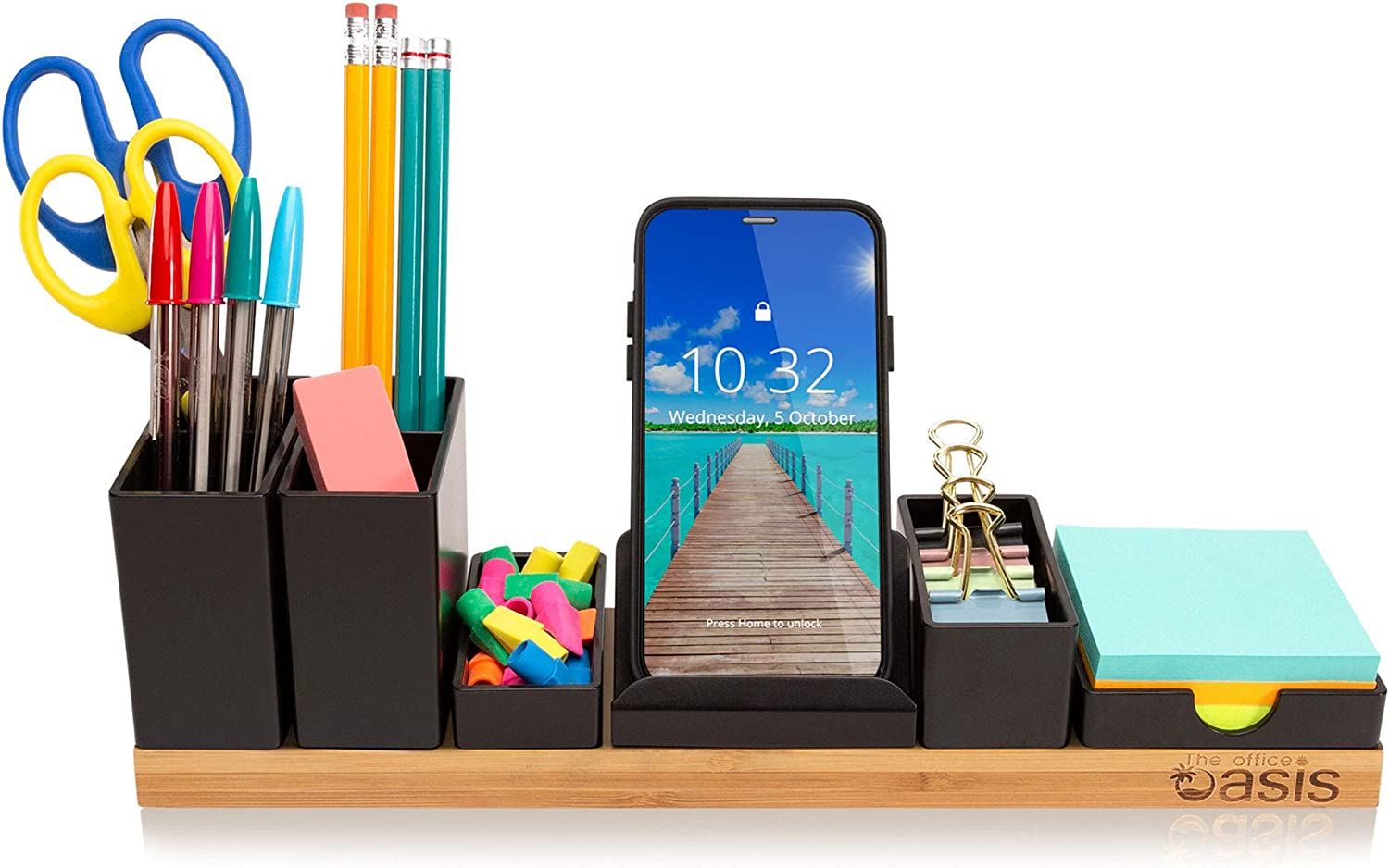 Customizable Desk Organizer - Office Supplies Holder Eliminates Your Desktop Clutter - Revolutionary Storage Caddy for Pens, Pencils, Phone and Accessories (Natural)