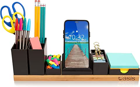 Desk Organizer with Adjustable Pen Holder, Pencil Cup, Phone Stand, Sticky Note Tray, Paperclip Storage, and Office Accessories Caddy, Desktop Organization for Cubicle or Home Office, Natural