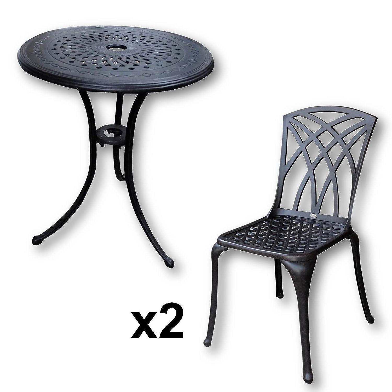Lazy Susan - Ella 60 cm Bistrotisch mit 2 Stühlen - Rundes Gartenmöbel Set aus Metall, Antik Bronze (May Stühle)