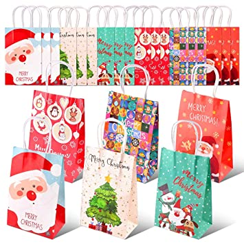 Christmas Gift Bags.Amazon Com Swpeet 18pcs Merry Christmas Gift Bags Paper