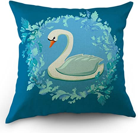 Moslion Swan Throw Pillow Cover Cute Animal White Swan Princess Flowers Pillow Case 18x18 Inch Cotton Linen Canvas Decorative Happy Father S Day Square Cushion Cover For Sofa Bed Aqua Blue Home