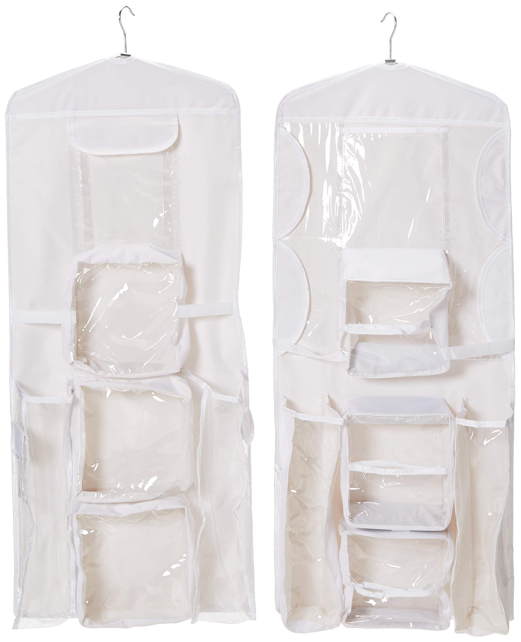Elf Stor 83-DT5153 Door Hanging Wrapping Paper and Gift Bag Storage Caddy and Organizer Combo Set of 2 in White and Clear