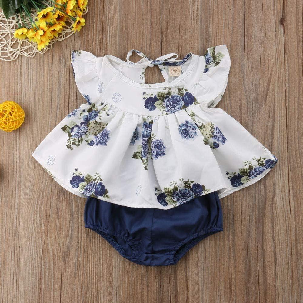 Ropa Bebe ni/ña Verano Vestido de Camiseta Floral de ni/ña reci/én Nacida Tops Pantalones Cortos Ropa Traje 2pcs Conjunto