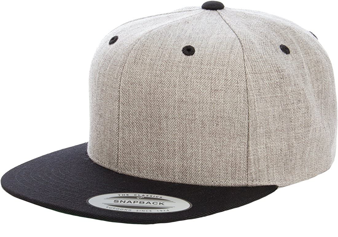 852fef069c09b6 Flexfit/Yupoong 6089M, 6089MT, 6089CAMO 6 Panel Premium Classic Snapback Hat  Cap (Black) at Amazon Men's Clothing store: