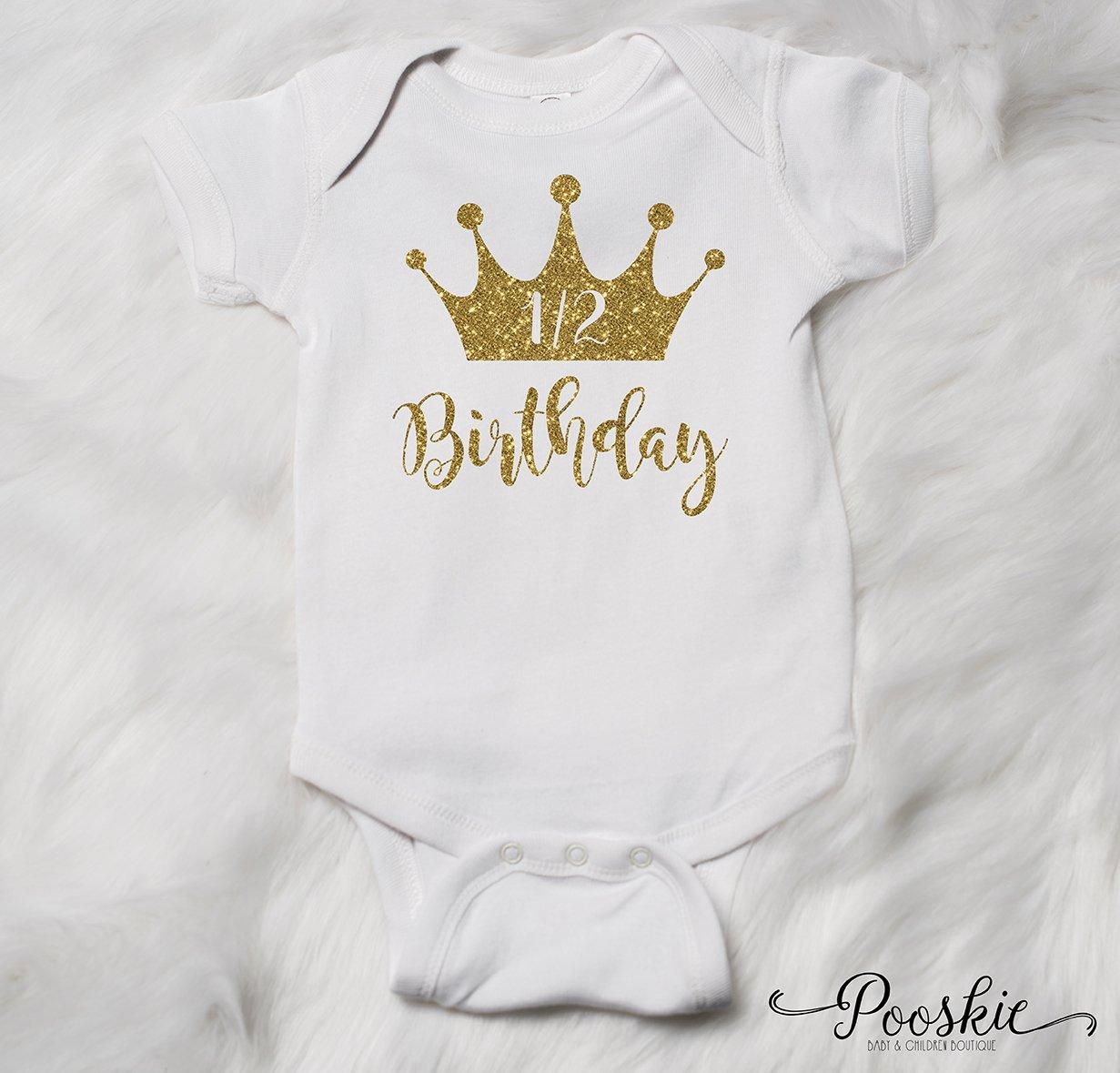 Amazon White 1 2 Birthday Bodysuit 6 Month Birthday Shirt