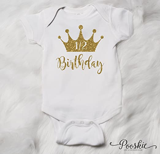 White 1 2 Birthday Bodysuit 6 Month Shirt Its My Outfit Half First Party