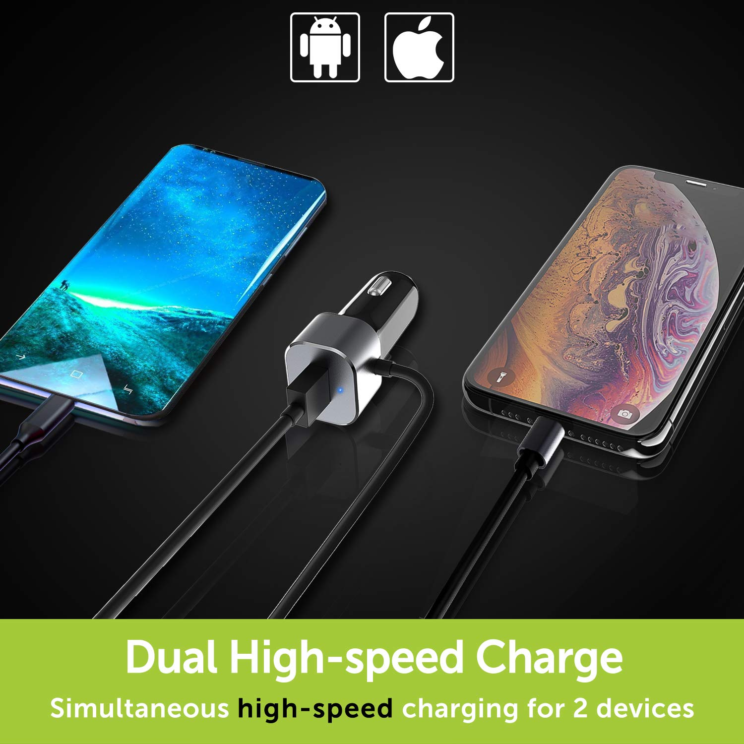 BrexLink 30W Charger Compact 12w iPhone Car Charger Apple MFI Certified iPhone X//XR//XS//Max//8//7//+,iPad Air 2,Samsung S10//S9//S8 4351487244 Lightning Charging Cable and 18W Quick Charger 3.0 Port Compatible w