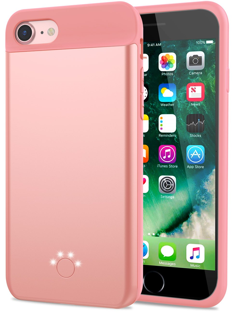 Smpoe iPhone 7/8 Battery Case, 3000mAh Ultra Slim Extended Rechargeable Portable Charging Case for iPhone 8/7 / 6 / 6S, External Battery Backup Case (4.7''-Rose Gold)