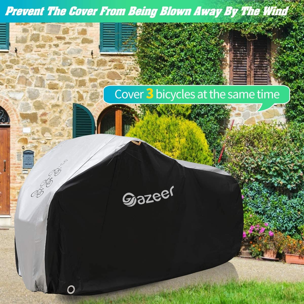 Gazeer Bicycle Cover with Lock Hole Reflective Safety Loops for 29er Mountain Road Electric Bike Motorcycle Cruiser Outdoor Storage Waterproof Anti-UV Heavy Duty Ripstop Material 210D