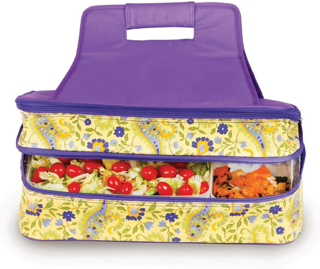 Hot and Cold Food Carrier Double Layer Thermal Insulated Food Carrier Potluck Carrier (Buttercup)