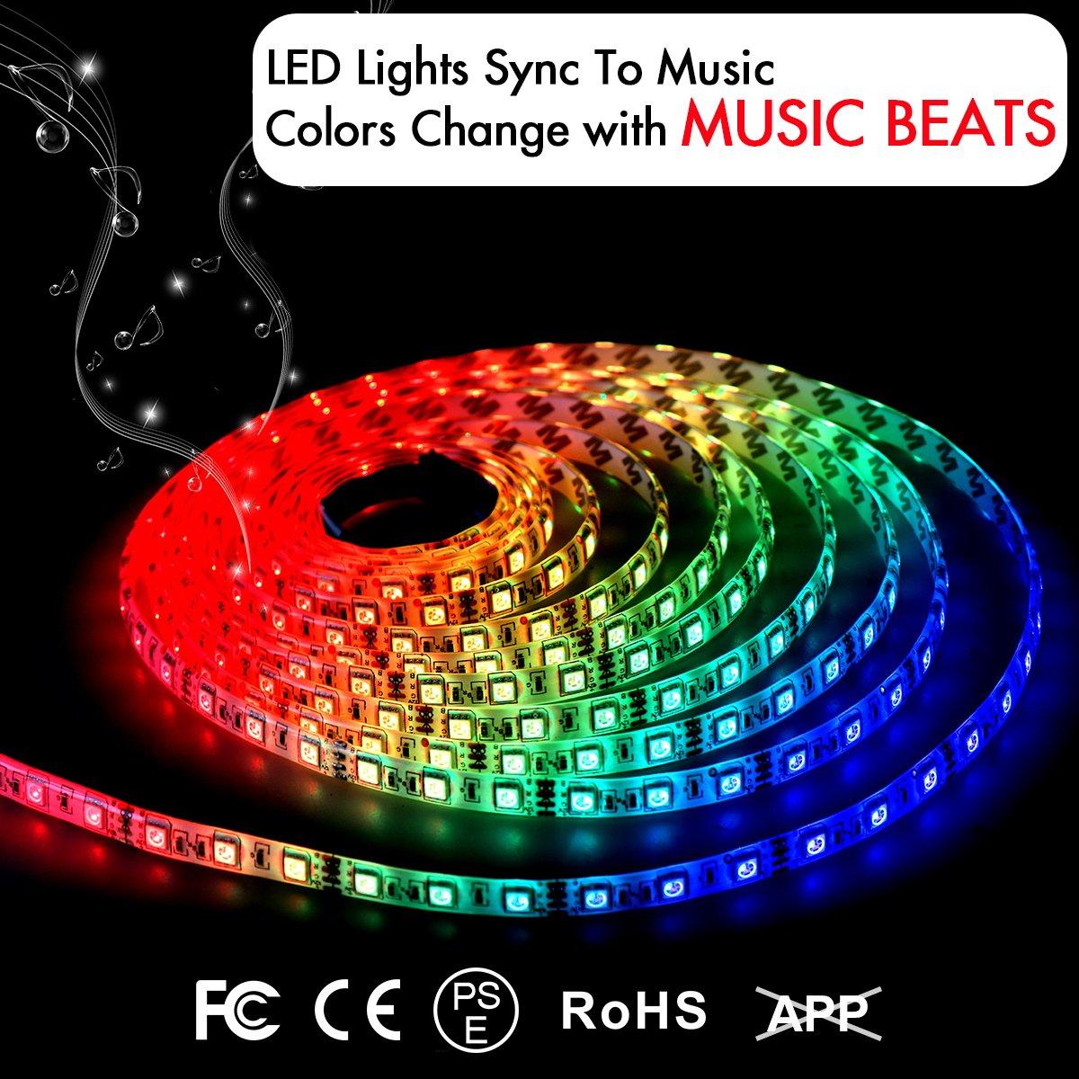 LED Strip Lights LED Lights Sync To Music 16.4Ft/5M LED Light Strip 300 LED Lights SMD 5050 Waterproof Flexible RGB Strip Lights IR Controller+12V 3A Power By DotStone