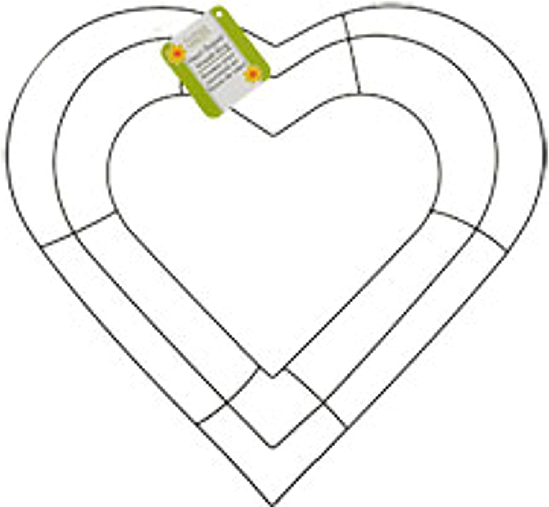 Floral Garden Heart-Shaped Metal Wreath Ring, 12