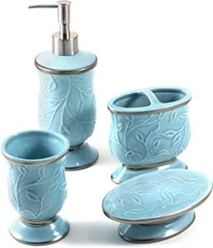 saturday knight ltd seafoam blue ceramic 4 piece bathroom accessory set