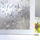"""Bloss Excellent Quality 3D Static Cling Window Film Self adhesive Window Covering Decorative Flower Privacy film for window 17.7"""" x 78.7"""", 1 Roll"""