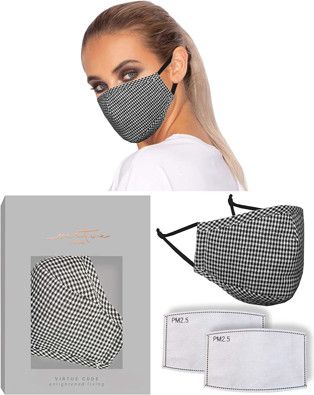 The Solution Mask in Black White Checks by VIRTUE CODE Fabric Face Masks 1 Mask 2 Filters