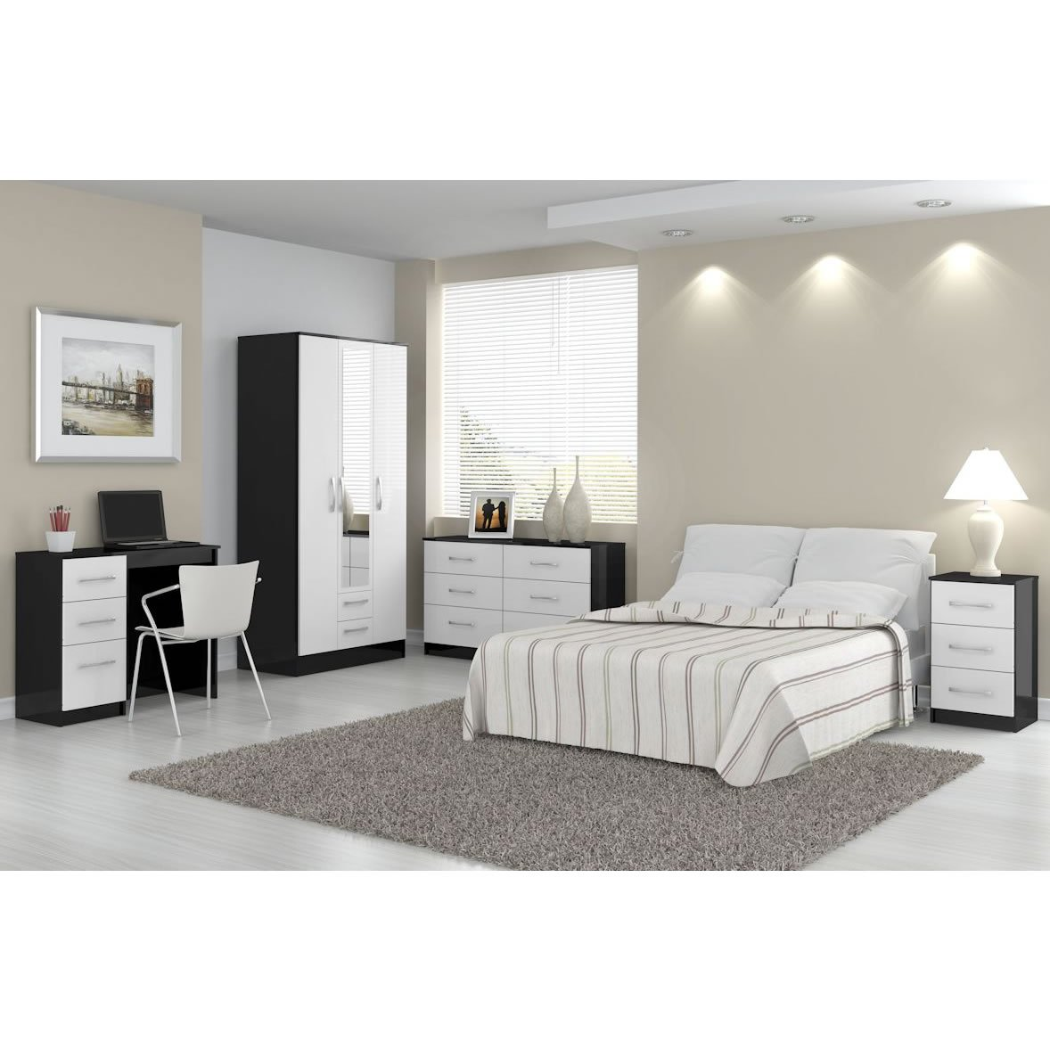 Lynx Bedroom Furniture 5 Drawer Chest Lynx Black White High Gloss Contemporary