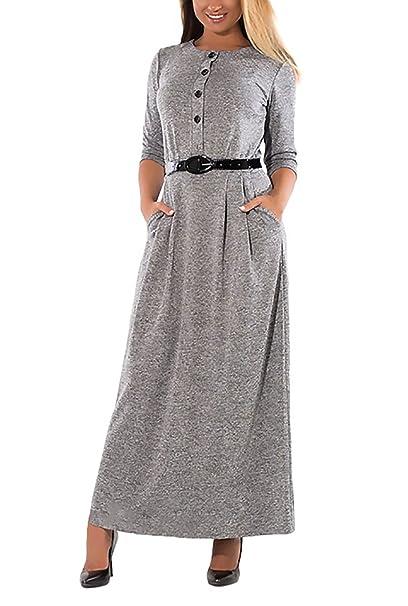 Mujeres Vestidos De Fiesta Largos Y Bolsillos Vestido Informales Cinturón Tallas Grandes Elegantes Botón Otoño Vestir Maxi Manga Larga Cuello Redondo Moda ...