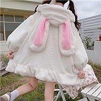Yunbai Lolita Vestido japonés otoño Invierno Mujeres Dulce Chaqueta Caliente Kawaii Suave Lambswool Volantes Conejo…