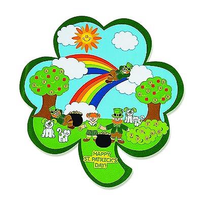 Fun Express Shamrock St. Patrick's Day Sticker Scenes (Makes 12) Kids DIY Arts & Crafts, Classroom Supplies: Everything Else