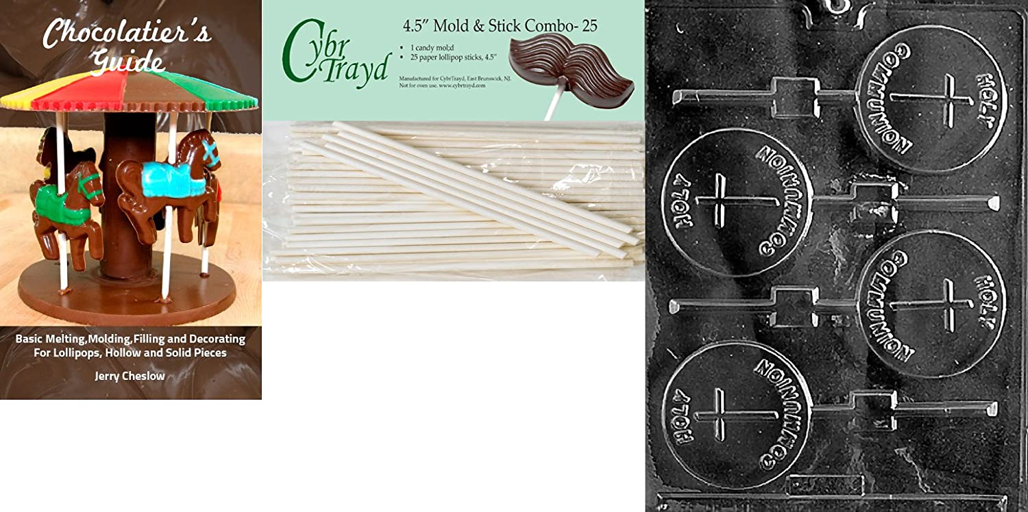 Cybrtrayd Holy Communion Lolly Chocolate Candy Mold with 25 4.5-Inch Lollipop Sticks and Exclusive Cybrtrayd Copyrighted Chocolate Molding Instructions